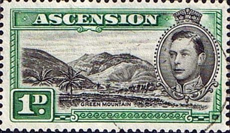 Stamps Ascension 1938 George VI SG 39b Fine Used Scott 41d Green Mountain