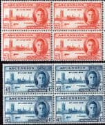 Ascension 1946 King George VI Victory Set in Blocks of 4 Fine Mint