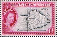 Ascension 1956 Queen Elizabeth II Map SG 58 Fine Mint