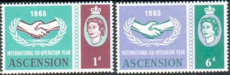 Postage Stamps of Ascension 1965 International Co-operation Year Set Fine Mint
