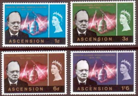 Stamps of Ascension 1966 Churchill Set Fine Mint
