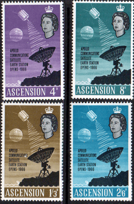 Postage Stamps Ascension Island 1966 Apollo Communication Satellite Set Fine Mint