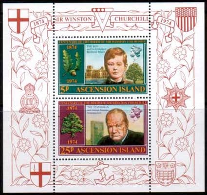 Ascension Islands 1974 Churchill Centenary Miniature Sheet Stamps