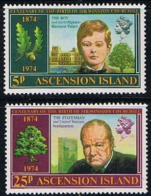 Ascension Islands 1974 Churchill Centenary Stamps
