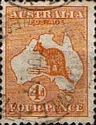 Australia 1913 SG 6 Kangaroo on Map Fine Used
