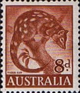Australian Stamps Australia 1959 SG 317 Animal Tiger Cat Fine Mint SG 317 Scott 321