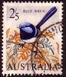 Stamps Australia 1963 SG 367 Birds Blue Wren Fine Used Scott 371