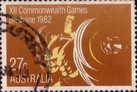 Stamps of Australia 1982 Commonwealth Games Set Fine Used SG 860 Scott 843 Weight Lifting