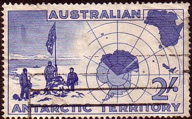 Stamps Australian Antarctic Territory 1957 SG 1 Expedition at Vestfold Hills and Map Fine Used SG 6 Scott L6