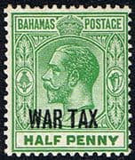 Bahamas 1918 War Tax Overprint SG 96 Fine Mint