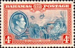 Stamps Bahamas 1938 George VI Sea Garden SG 158 Fine Mint Scott 106