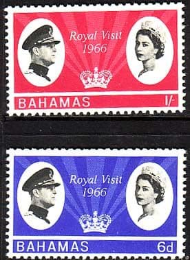 Postage Stamps of Bahamas 1966 Caribbean Royal Visit Set Fine Mint