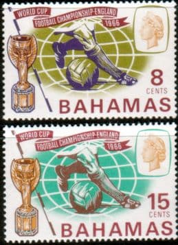 Postage Stamps of Bahamas 1966 Football World Cup Set Fine Mint
