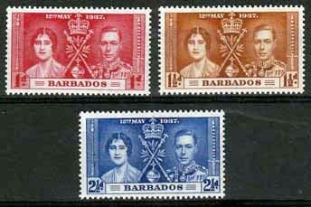 Stamps of Barbados 1937 King George VI Coronation Set