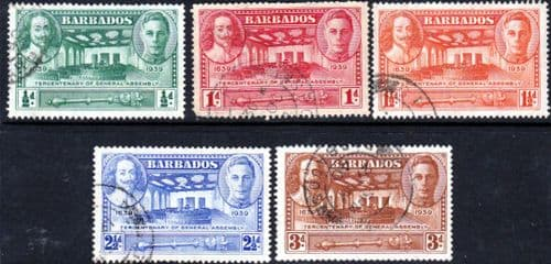 Barbados 1939 Tercentenary of General Assembly Set Fine Used