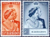 Barbados 1948 King George VI Royal Silver Wedding Set Fine Mint