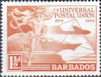 Stamps Barbados 1949 Universal Postal Union Set Fine Mint