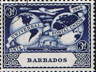 Stamps Barbados 1949 Universal Postal Union Set Fine Used SG 267 70 Scott 212 5