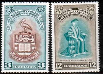 Barbados 1951 British West Indies University College Stamps