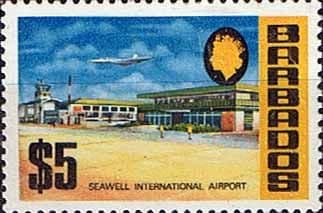 Postage Stamps Barbados 1970 SG 414a Seawell International Airport Fine Mint Scott 343