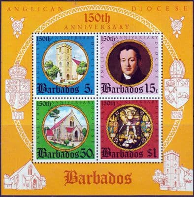 Barbados 1975 150th Anniv of Anglican Diocese Miniature Sheet Fine Mint