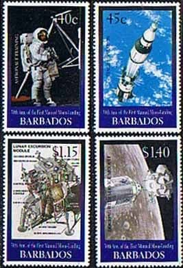 Barbados 1999 30th Anniv of First Manned Landing on Moon Set Fine Mint