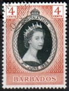 Barbados Queen Elizabeth II 1953 Coronation Fine Used
