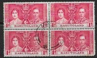 Basutoland 1937 SG  15 King George VI Coronation Fine Used Block of 4