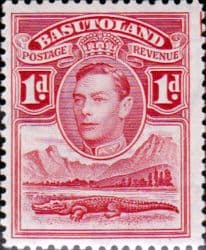 African Stamps Basutoland 1938 SG 19 King George VI and Crocodile Fine Mint Scott