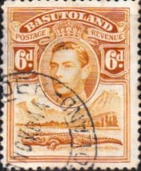 African Stamps Basutoland 1938 SG 24 King George VI and Crocodile Fine Used Scott