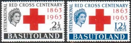 Stamps of Basutoland 1963 Red Cross Centenary Fine Mint