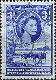 Bechuanaland 1955 Queen Elizabeth Baobab Tree and Cattle SG 146  Fine Used