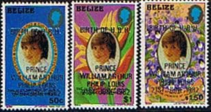 Stamps 1982 Belize Royal Baby Prince William Small Set Fine Mint