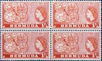 Bermuda 1953 Queen Elizabeth SG 144 Early Bermuda Coins Fine Mint Block of 4