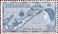 Bermuda 1953 Queen Elizabeth SG 145b Map Fine Mint