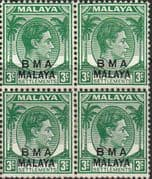 BMA 1945 SG  SG 4 3c Yellow Green Fine Mint Block of 4