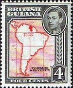 British Guiana 1938 King George VI SG 310 Map of South America Fine Mint