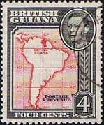 British Guiana 1938 King George VI SG 310 Map of South America Fine Used