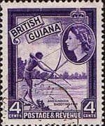 British Guiana 1954 Queen Elizabeth II SG 334 Native Shooting Fish Fine Used