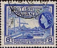 British Guiana 1954 Queen Elizabeth II SG 337 Sugar Cane Entering Factory Fine Used