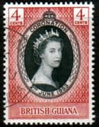 British Guiana Queen Elizabeth II 1953 Coronation Fine Used