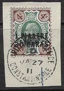 British Levant 1909 Turkish Currency SG 18 Fine Used Tied with Nice Constantinople PM