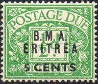 British Post Offices Eritrea 1948 BMA Overprint Post Dues SG ED 1 Fine Mint