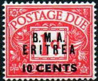 British Post Offices Eritrea 1948 BMA Overprint Post Dues SG ED 2 Fine Mint