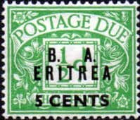 British Post Offices Eritrea 1950 BA ERITREIA Overprint Post Dues SG ED 6 Fine Mint