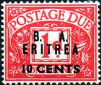 British Post Offices Eritrea 1950 BA ERITREIA Overprint Post Dues SG ED 7 Fine Mint