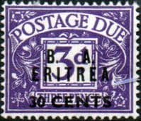 British Post Offices Eritrea 1950 BA ERITREIA Overprint Post Dues SG ED 9 Fine Mint