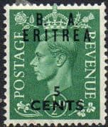 British Post Offices Eritrea 1950 Overprint B A SG E 13 Fine Mint