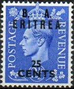 British Post Offices Eritrea 1950 Overprint B A SG E 16 Fine Mint