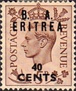 British Post Offices Eritrea 1950 Overprint B A SG E 18 Fine Mint
